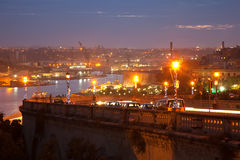 Grand Harbour from Valetta in evening Stock Image