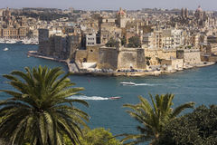 Grand Harbour - Valletta - Malta. The Grand Harbor and Fort Saint Angelo in Velletta on the Island of Malta Stock Images