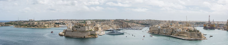 The Grand Harbour Valletta Malta. A large detailed panorama Shot of the grand harbour Valletta Malta Royalty Free Stock Images