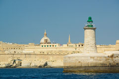The Grand Harbour of Valletta, Malta. A view of the Grand Harbour in Valletta, Malta as seen from the sea Stock Photo