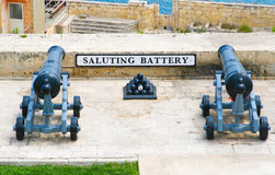 The Grand Harbour of Valletta and Saluting Battery. Saluting Battery under Upper Barracca Gardens in Valletta, Malta Royalty Free Stock Image