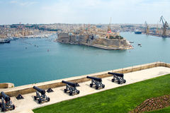 The Grand Harbour of Valletta and Saluting Battery. Saluting Battery under Upper Barracca Gardens in Valletta, Malta Royalty Free Stock Photo