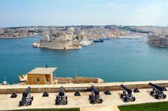 The Grand Harbour of Valletta and Saluting Battery. Saluting Battery under Upper Barracca Gardens in Valletta, Malta Royalty Free Stock Images