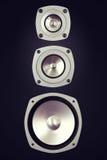 Grand haut-parleur bruyant stéréo audio à trois voies Image stock