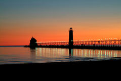 Grand Haven Beach. The Grand Haven beach at sunset in Michigan royalty free stock image