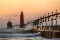 Grand Haven Lighthouse. I view of the beautiful Grand Haven Pier lights in Grand Haven, Michigan. Located along the eastern shore of Lake Michigan these two Royalty Free Stock Photos