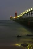 Grand Haven Lighthouse. Grand Haven Michigan lighthouse at night Royalty Free Stock Image