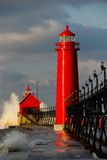Grand Haven Lighthouse with Big Waves. In Michigan Royalty Free Stock Image