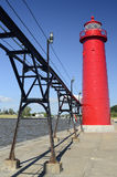 Grand Haven Lighthouse. Image of the Grand Haven Light, a landmark on the beach of Lake Michigan Royalty Free Stock Image