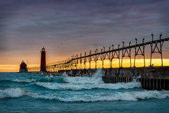 Grand Haven Lighthouse. Grand Haven South Pierhead Inner Light with Entrance Light in background in Grand Haven State Park in Grand Haven, Michigan stock photos