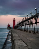 Grand Haven Lighthouse. Grand Haven South Pierhead Inner Light with Entrance Light in background in Grand Haven State Park in Grand Haven, Michigan Royalty Free Stock Images