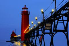 Grand Haven Lighthouse at Sunrise Stock Image