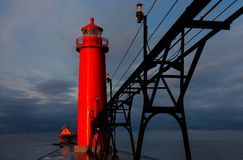 Grand Haven Lighthouse at Sunrise. Grand Haven Lighthouse  in Michigan at sunrise Royalty Free Stock Photos