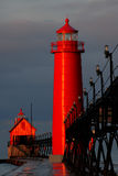 Grand Haven Lighthouse at Sunrise. Grand Haven Lighthouse in Michigan at sunrise Stock Photography