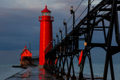 Grand Haven Lighthouse at Sunrise. Grand Haven Lighthouse  in Michigan at sunrise Stock Photo
