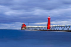 Grand Haven Lighthouse Before Sunrise Royalty Free Stock Image