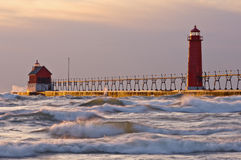 Grand Haven Lighthouse at Sunset Stock Photography