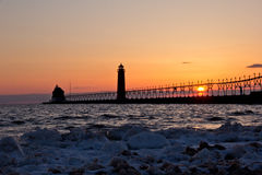 Free Grand Haven Lightouse At Sunset Royalty Free Stock Photo - 39851835