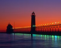 Grand Haven Lighthouse. In Michigan at sunset Royalty Free Stock Images