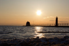 Grand Haven lightouse at sunset Stock Photos
