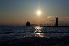 Grand Haven lightouse at sunset Royalty Free Stock Photo