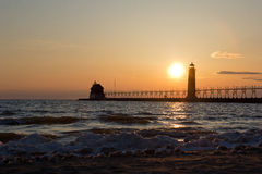 Grand Haven lightouse at sunset Stock Images