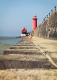 Grand Haven, Michigan, Lighthouse. A low shot of the Grand Haven lighthouse in Grand Haven, Michigan royalty free stock photos