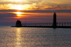 Grand Haven Pier at Night - Michigan, USA Royalty Free Stock Photo