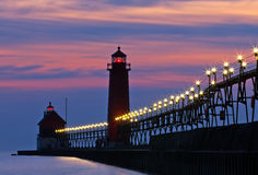 Grand Haven Pier at Night. Grand Haven Michigan Royalty Free Stock Images