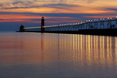 Grand Haven Pier at Sunset. Grand Haven Michigan  Stock Image