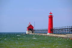 Grand Haven South Pierhead Inner Light, built in 1905. Lake Michigan, MI, USA Royalty Free Stock Photos