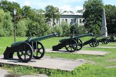 The guns. Museum of artillery, engineering troops. St. Petersburg. royalty free stock images