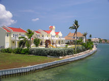 Grand Homes Along the Water on Grand Cayman 2. Beautiful waterfront homes in Grand Cayman Stock Photos