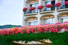 Flowers on Hotel balcony  in Stresa on Maggiore Lake,  Italy. Grand Hotel Bristol in Stresa. View from the Maggiore Lake Stock Photo