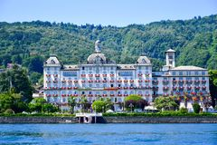 Hotel in Stresa on Maggiore Lake,  Italy. Grand Hotel Bristol in Stresa. View from the Maggiore Lake Royalty Free Stock Photography