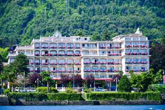 Hotel in Stresa on Maggiore Lake,  Italy. Grand Hotel Bristol in Stresa. View from the Maggiore Lake Royalty Free Stock Photo