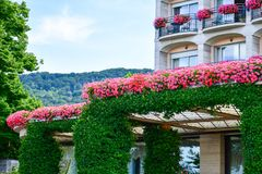 Hotel in Stresa on Maggiore Lake,  Italy. Grand Hotel Bristol in Stresa. View from the Maggiore Lake Stock Images