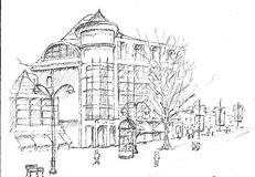 Grand Hotel Casino Sketch Stock Images