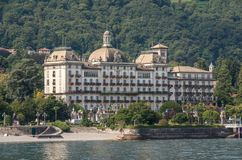Grand Hotel Des Iles Borromees and Stresa town embankment, view stock photography