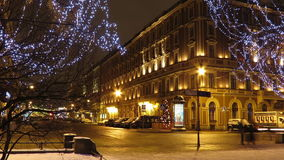 The Grand Hotel Europe at night, St. Petersburg stock footage