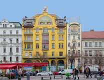 Grand Hotel Evropa and Meran Hotel in Prague Stock Photos