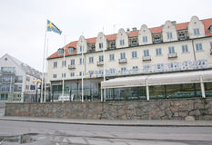 Grand Hotel front with Swedish flying flag Royalty Free Stock Images