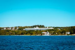 A view of the Grand Hotel on Mackinac Island from Lake Michigan royalty free stock photography