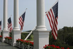 Grand Hotel Mackinac Island - US Flag royalty free stock images