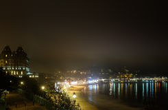 Grand Hotel and misty Scarborough harbour at night Stock Photos