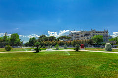 Grand Hotel, Rimini, Emilia-Romagna, Italy. Grand Hotel, Rimini, Italy. View from Fellini Square royalty free stock image