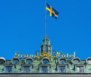 Grand Hotel sign with the swedish flag Stock Images