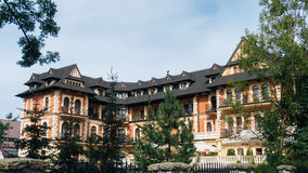 Grand Hotel Stamary Offers 53 Rooms. ZAKOPANE, POLAND - SEP 2, 2016: Pension Stamary built in 1904 by architect Eugeniusz Wesolowski, since 2005 after renovation Stock Photos