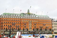 Grand Hotel in winter Gamla Stan of Stockholm Royalty Free Stock Image