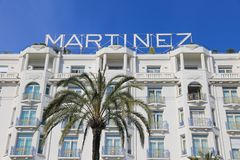 Grand Hyatt Cannes Hotel Martinez in Cannes at the Croisette. CANNES, FRANCE - APRIL 12, 2015: Grand Hyatt Cannes Hotel Martinez in Cannes at Boulevard de la stock photography